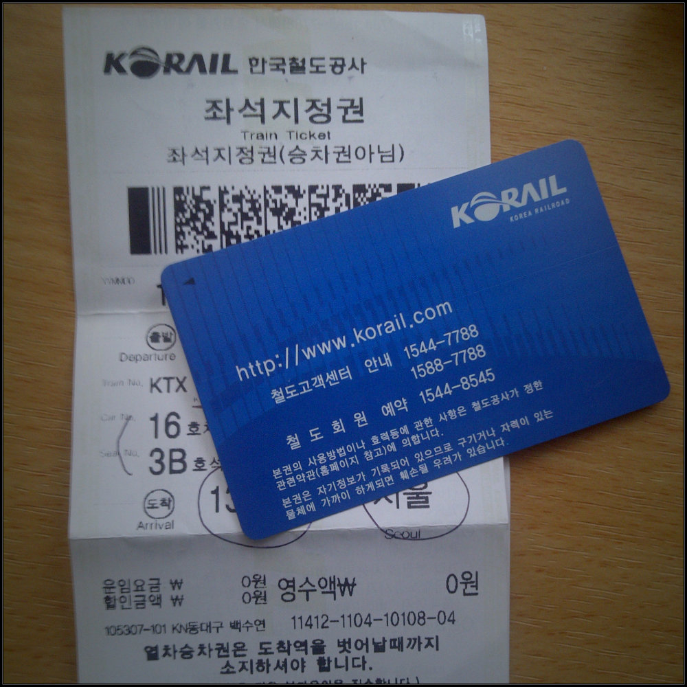KR Pass seukuran kartu nama & Ticket Kereta