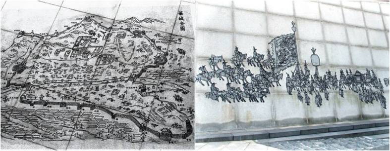 The Map & Pictures of Hwaseong Fortress on the Wall next to the Statue