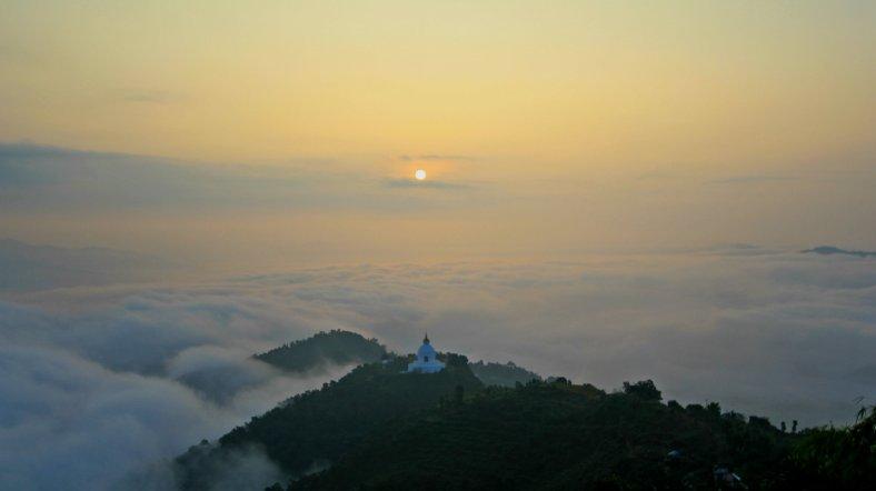 Sunrise Over World Peace Pagoda, Raniban, Pokhara, Nepal