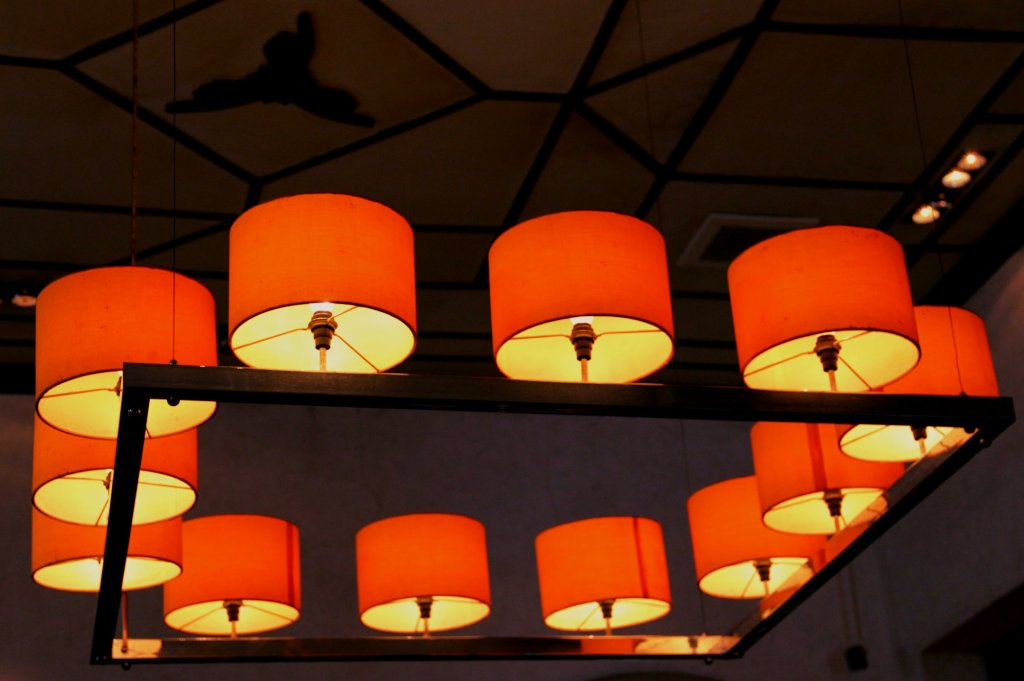 Hanging Orange Lamps in Sampoerna Museum, Surabaya, Indonesia