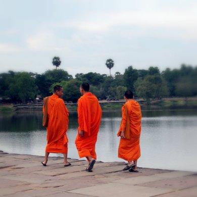 Monks in Angkor Wat, Siem Reap, Cambodia