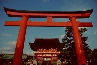 A Big Torii in Fushimi Inari, Kyoto, Japan