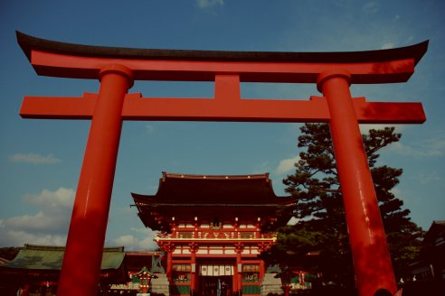 A Big Torii in Fushimi Inari, Kyoto, Japan