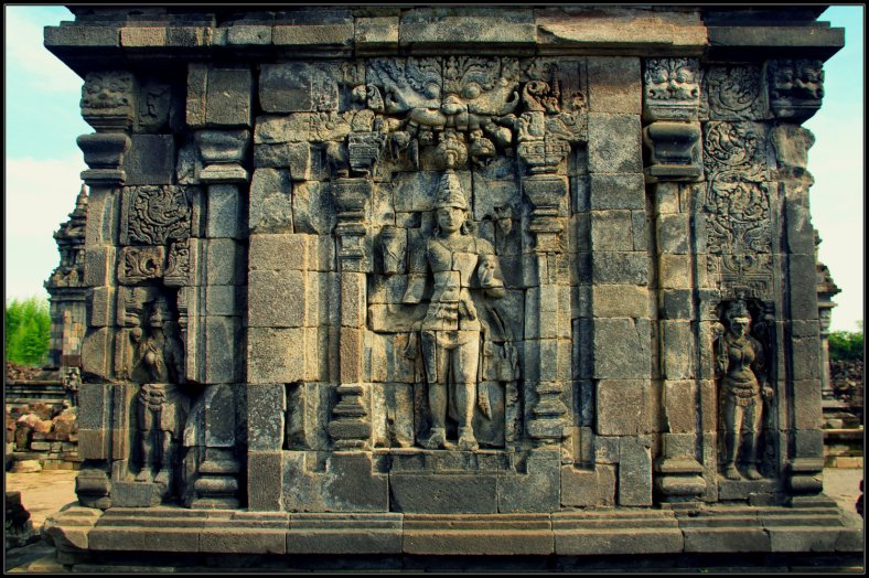 Bas Relief of Royal Member in Sewu Temple, Indonesia