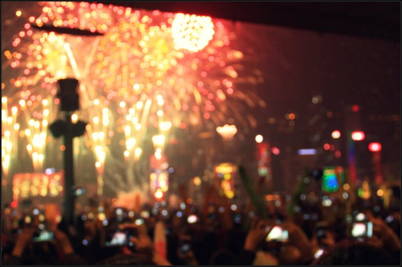 Happiness to Welcome New Year, Victoria Harbor, Hong Kong - Between the Smartphone and Fireworks