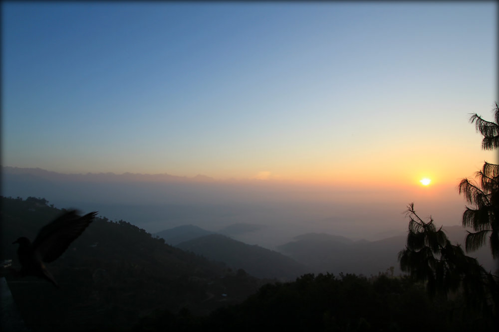 Sunrise in Nagarkot with an early bird