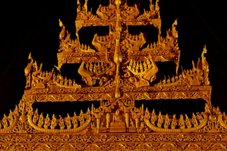 An intricate roof in Shwedagon
