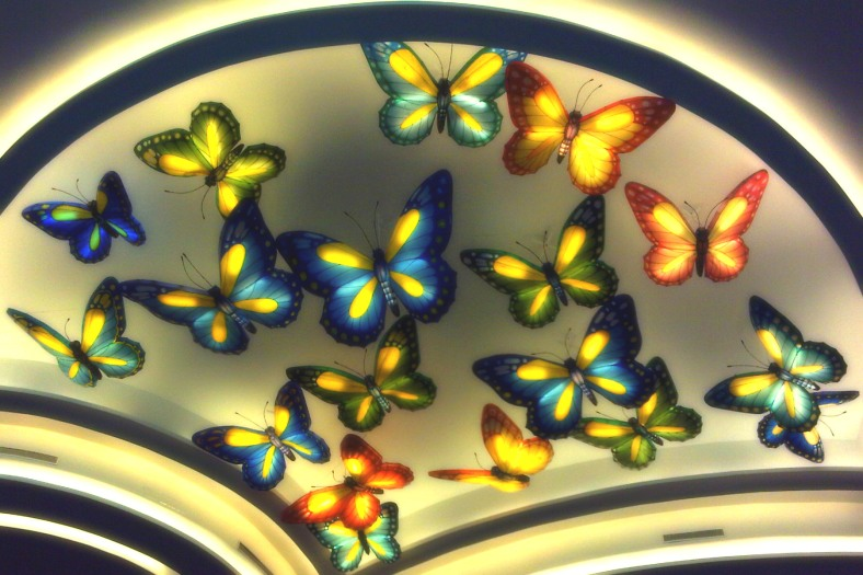 Butterflies on ceiling - a decor in mall