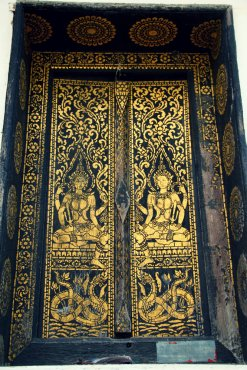 Gold leaf on a temple door in Luang Prabang