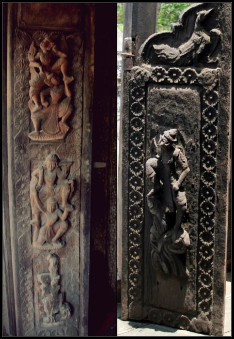 Almost a 3D carvings on a very old wooden door of Buddhist Temple in Myanmar