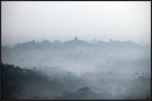 Borobudur in Morning Mist