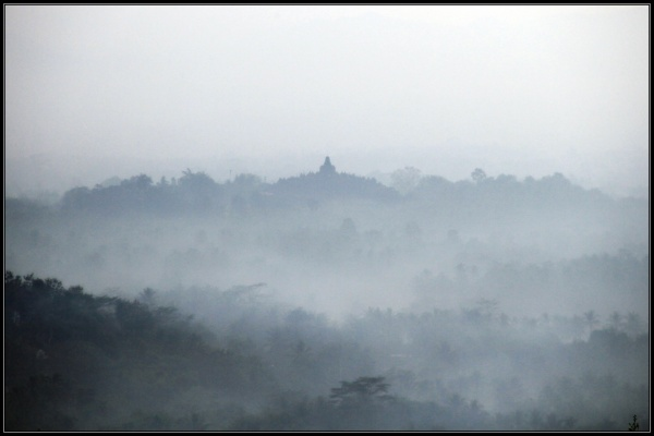 Borobudur in Morning Mist