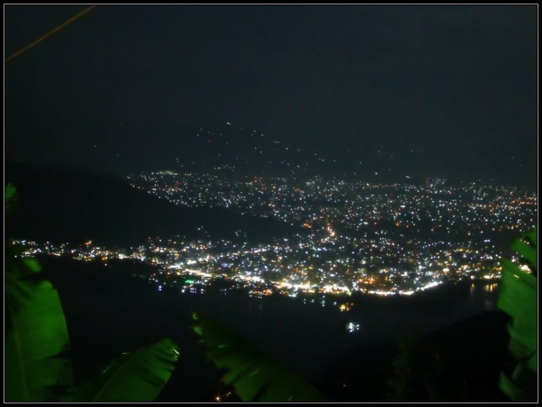 Pokhara and Phewa Lake at Night