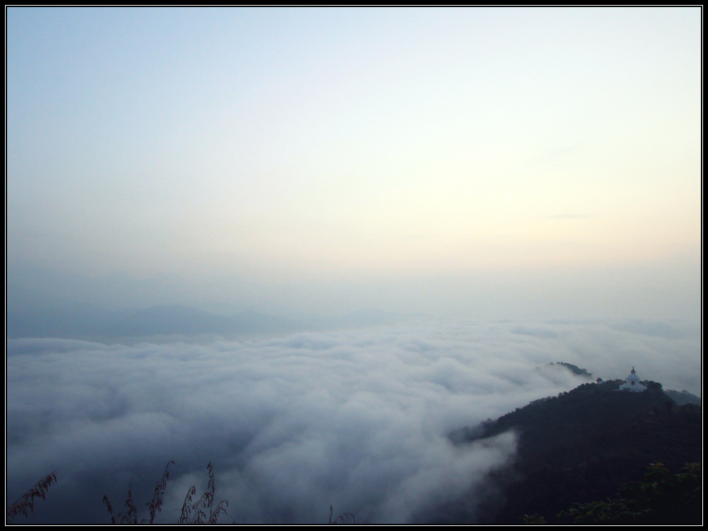 Clouds over Phewa Lake and Pokhara in Early Morning