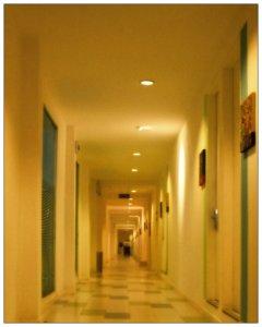 The dull modern corridor