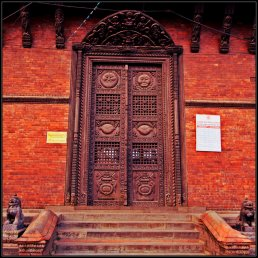 A door with beautiful Nepali carvings