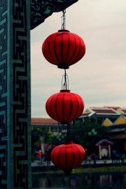 Red lantern on the bridge