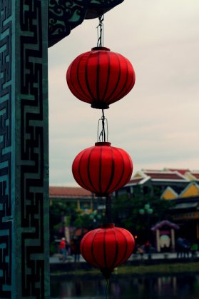 Red lantern on the bridge