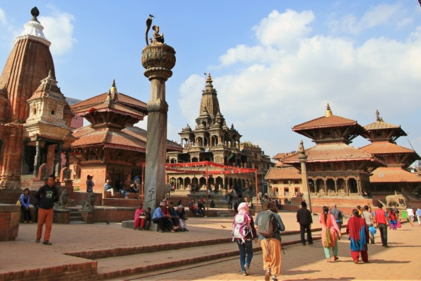 Vishnu Temple, Char Narayan, Yognarendra Malla Statue, Krishna Mandir, Vishwanath Temple, Bhimsen (left-right)