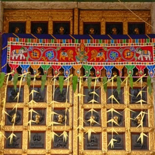 The door's decor of Sri Veeramakaliamman Temple