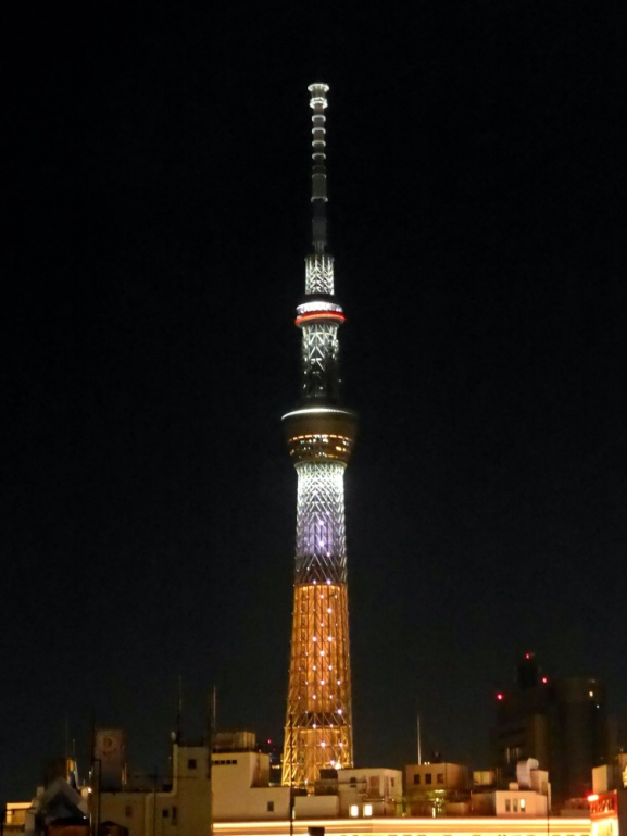 SkyTree view at night from our hostel's Rooftop