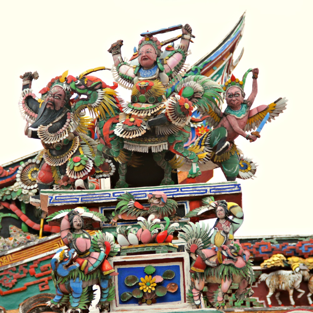 the richly decorated temple's roof