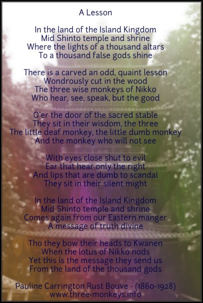 3 Wise Monkeys - Poem