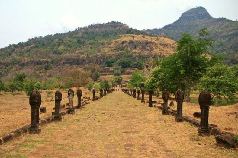 The ceremonial causeway of Wat Phou with Lingaparvata as background