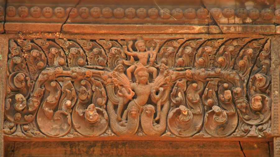Vishnu on Garuda, Wat Phou