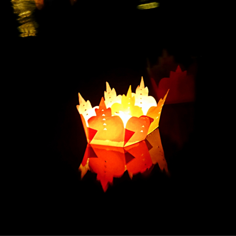 The reflection of a floating Krathong