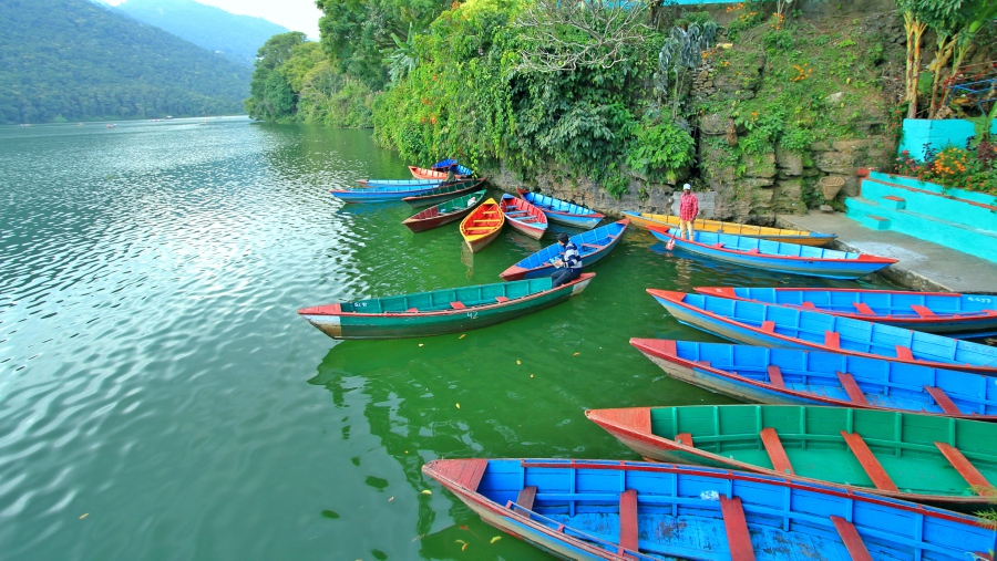 The Doongas, Colorful boats at Phewa Lake