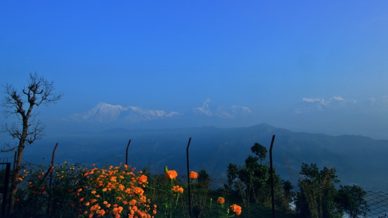 Annapurna Range with Mt. Macchapuchhre (Fish Tail) (center)