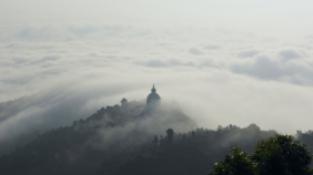 Sea of clouds in the morning and World Peace Pagoda, Raniban, Pokhara, Nepal