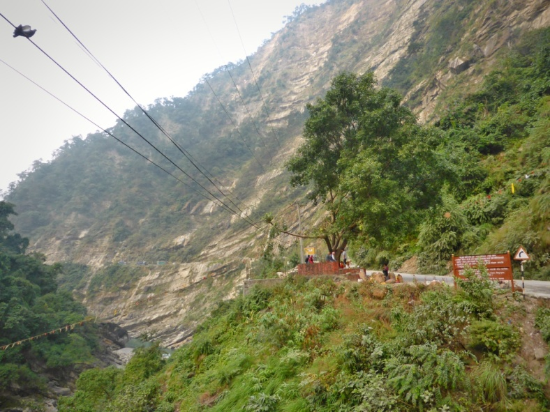 The dangerous road before Butwal - Do you see the trucks?
