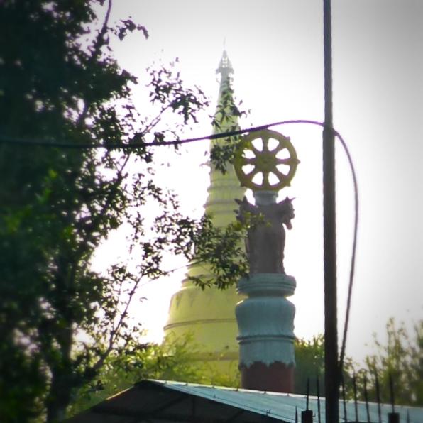 The tip of Lokamani Pagoda, Myanmar Monastery, Lumbini