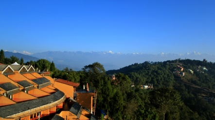 Snow capped Himalaya from rooftop Club Himalaya Resort, Nagarkot