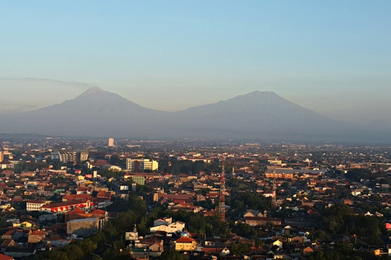 Mt. Merapi and Mt. Merbabu and Solo View from the Room