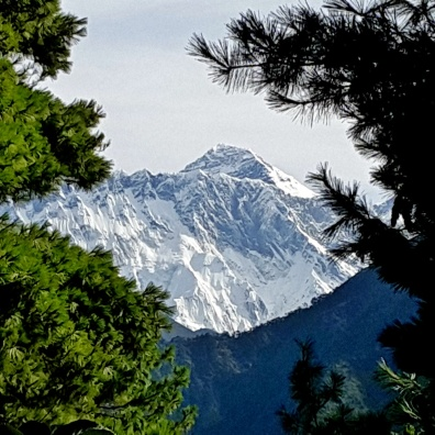 Mt. Everest from Everest viewpoint, on the way to Namche Bazaar