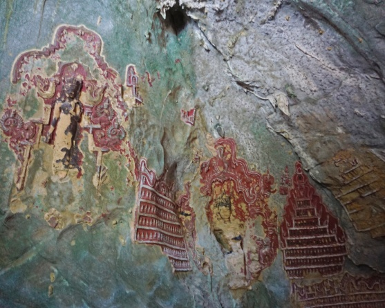 Some old Carvings on the wall of Yathaypyan Cave