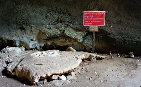 Stone Slab for cosmetic, used by the female elephants Saddan Cave, Hpa'an, Myanmar