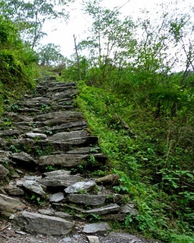 Uphill trekking path